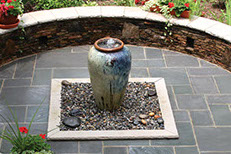 Ceramic Vase Fountain on patio